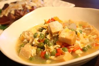 うすいえんどうと高野豆腐の卵とじ
