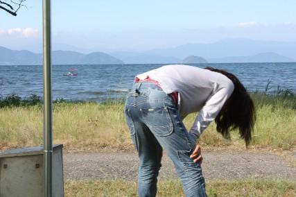 13jun琵琶湖キャンプお尻濡れた