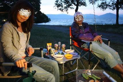 13jun琵琶湖キャンプ夕暮れ