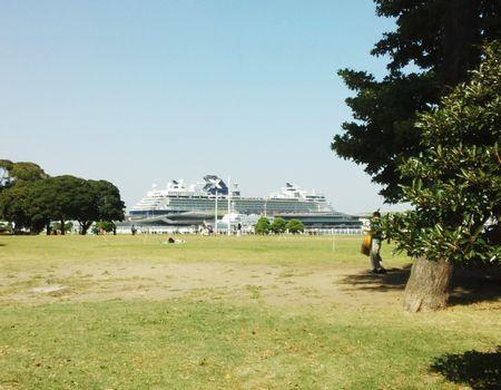 芝生の広場から船を見る