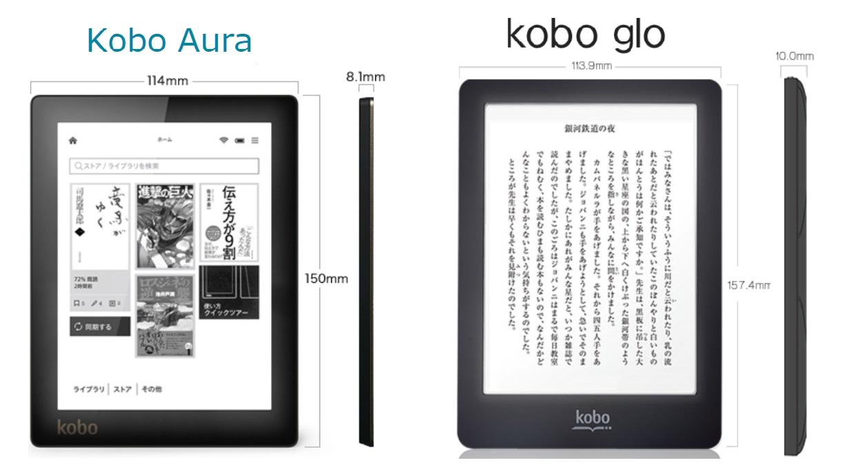 楽天kobo aura gloの違い 比較