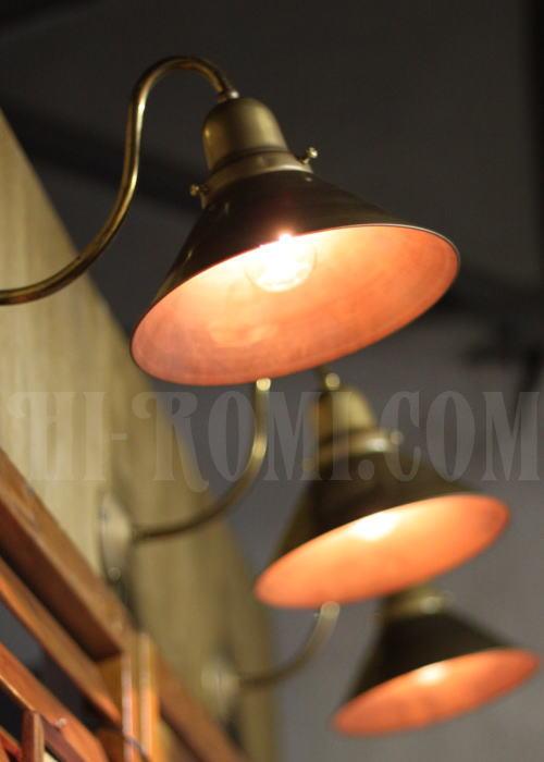 USA工業系真鍮製ベル型カップ&シェード付ブラケット、Hi-Romi.com(ハイロミドットコム)アンティークランプ、ライト照明、灯り、修理、製作、リモデリング、オーバーホール、店舗設計、照明計画 20130502-2