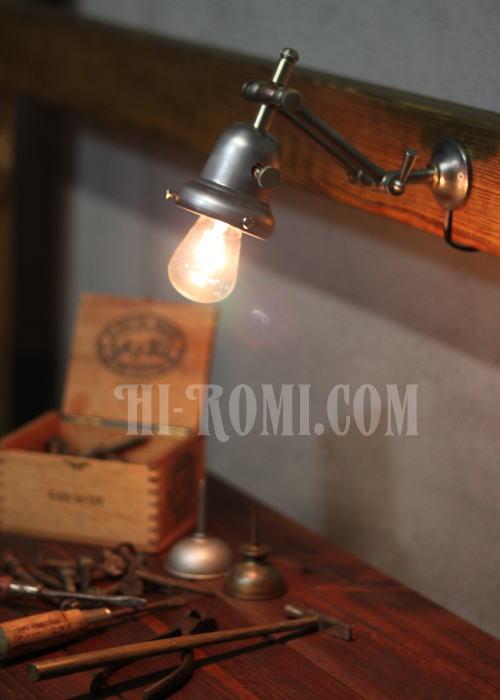工業系ベル型カップ付ダブルアーム壁掛ライト、Hi-Romi.com(ハイロミドットコム)アンティークランプ、ライト照明、灯り、修理、製作、リモデリング、オーバーホール、店舗設計、照明計画 20130513-1