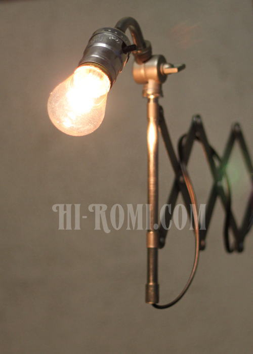 工業系蛇腹シザーアーム壁掛ライト、Hi-Romi.com(ハイロミドットコム)アンティークランプ、ライト照明、灯り、修理、製作、リモデリング、オーバーホール、店舗設計、照明計画 20130513-2