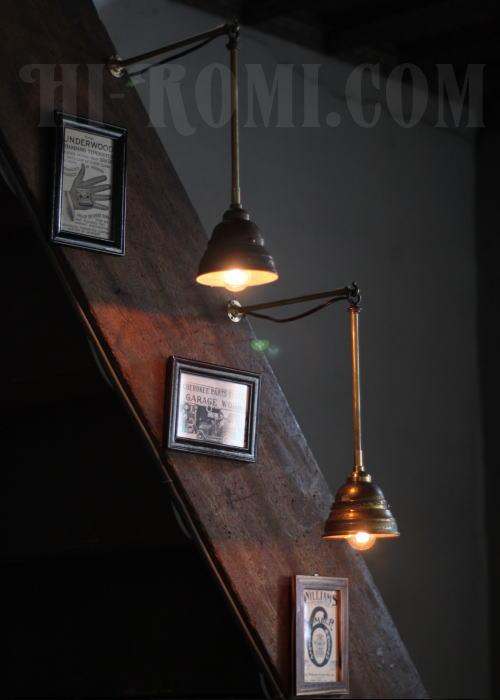 USA工業系真鍮吊下げ&壁掛ライトシェード付/アンティーク照明 照明計画 店舗設計 新築 新居 関西 神戸 Hi-Romi.com ハイロミドットコム 20130611-1