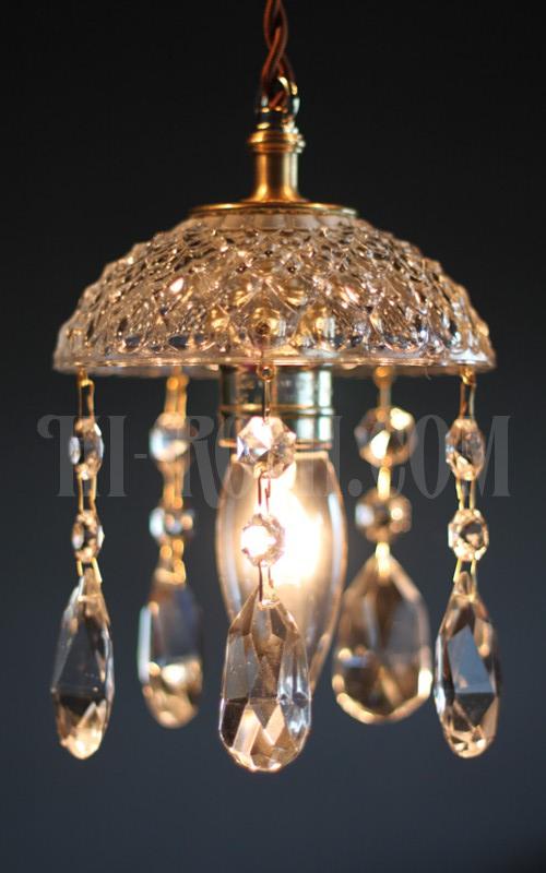 WPL-13-140 ヴィンテージプレスガラスシェードプリズム付1灯ペンダントランプA アンティークシャンデリア照明