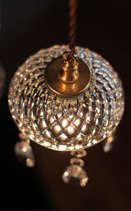 ヴィンテージプレスガラスシェードプリズム付1灯ペンダントランプB アンティークシャンデリア照明 照明計画 店舗設計 新築 新居 関西 神戸 Hi-Romi.com ハイロミドットコム