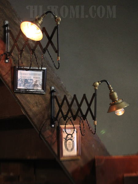 工業系真鍮シェード付角度調整付シザーアーム蛇腹ブラケットランプB/アンティーク照明