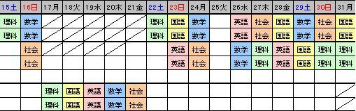 山本くん冬期講習日程表