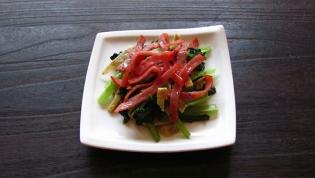 ハムと小松菜の炒めもの