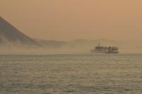 フェリーと海霧
