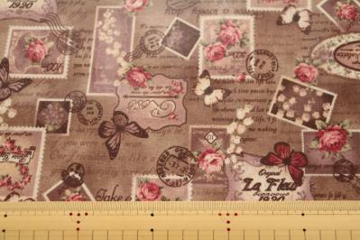 ビンテージコラージュ 蝶と切手