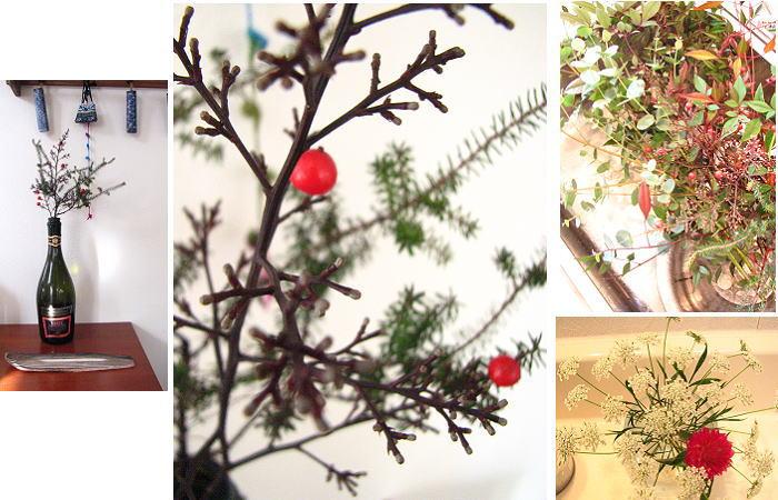 自宅庭の草木で正月飾り