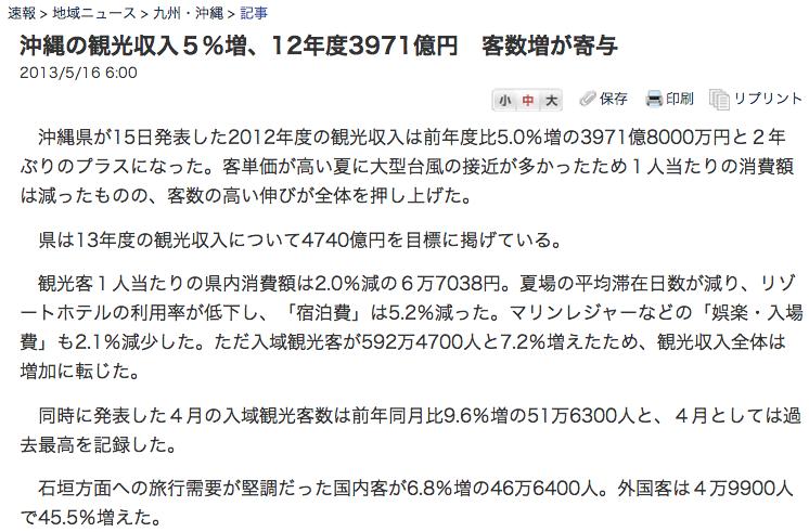 日経新聞沖縄観光収入