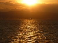 夕陽と高速船131214