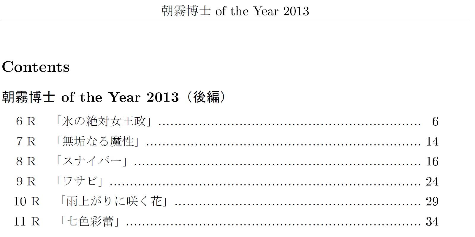 朝霧博士 of the Year 2013(後編)
