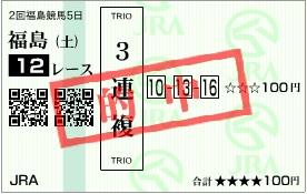 福島12R万馬券