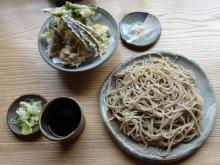 (季節限定)暑中寒ざらしそば(細切り) 880円 + 野菜天麩羅 600円