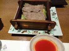 19:11 肉料理(牛肉の地獄蒸ししゃぶ ~ キャベツ・玉ねぎ・水菜) 自家製トマトポン酢で!