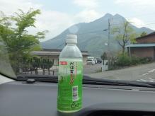 10:39 湯の坪街道で買ったかぼすの飲み物を飲みます。向こうに見えるのが由布岳ネ。