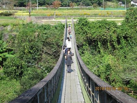 原尻の滝を望めるつり橋
