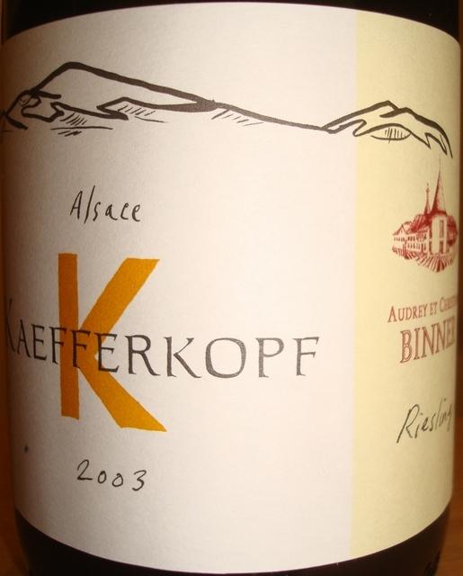 Alsace Kaefferkopf Binner Riesling 2003