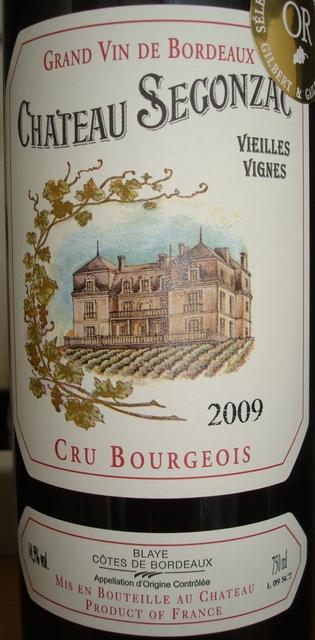 Chateau Segonzac Vieilles Vignes 2009