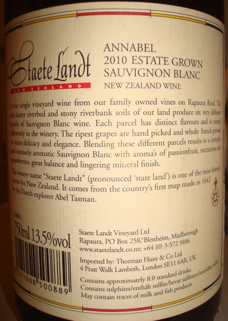 Staete Landt Annabel Sauvignon Blanc Marborough 2010 No2