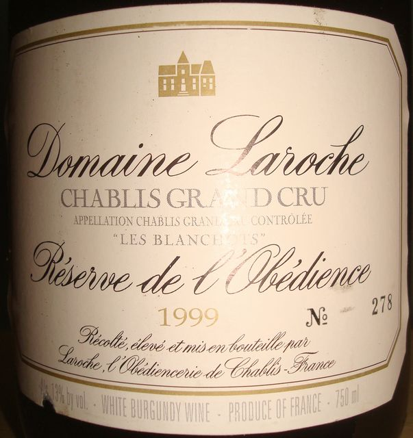 Chablis Grand Cru Les Blanchots Reserve de lObedienc Domaine Laroche 1999