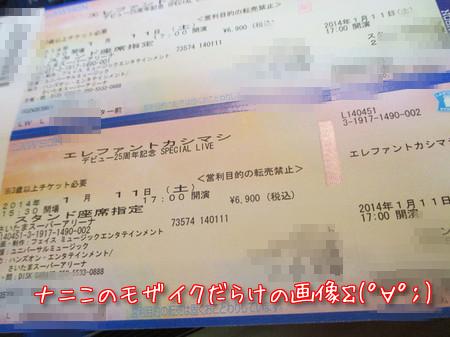 エレファントカシマシ デビュー25周年記念 SPECIAL LIVE さいたまスーパーアリーナ公演チケット。