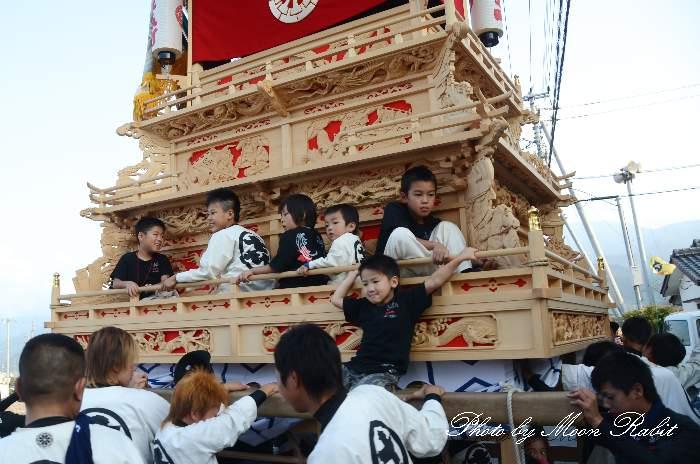 喜多町だんじり(北町屋台) 室川堤防 統一運行 西条祭り2012