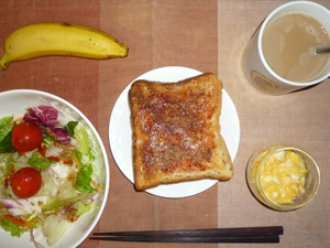 イチゴトースト,サラダ,スクランブルエッグ,バナナ