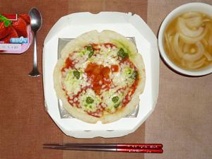 ピッツァマルゲリータ,玉葱のスープ,ヨーグルト