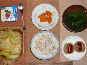 胚芽押麦入り五穀米,プチバーグ×2,焼き玉ねぎ,にんじんの煮物,ほうれん草のおみそ汁,ヨーグルト
