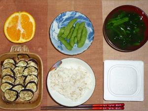 胚芽押麦入り五穀米,納豆,焼き茄子,枝豆,ほうれん草のおみそ汁,オレンジ