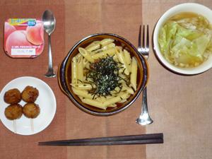 ペンネ和風きのこソース,つくね×2,キャベツと玉ねぎのスープ,ヨーグルト