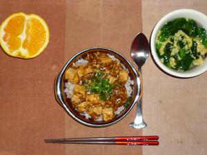 麻婆豆腐丼,ほうれん草と玉子の中華スープ,オレンジ
