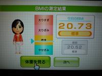 Wii Fit Plus 2013年09月04日のBMI 20.73