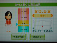 Wii Fit Plus 2013年09月11日のBMI 20.52