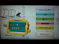 Wii Fit Plus 2013年09月15日のトレーニングのカロリー 84kcal