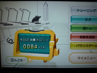 Wii Fit Plus 2013年09月16日のトレーニングのカロリー 84kcal