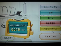 Wii Fit Plus 2013年09月18日のトレーニングのカロリー 79kcal