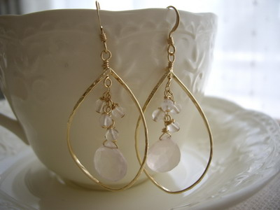 twisted frame rose quartz earrings