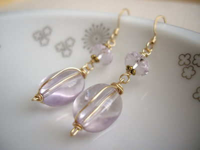 wire plus pink amethyst earrings