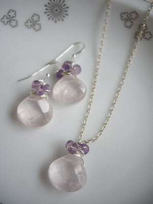 rose quartz beads wrap earrings,necklace