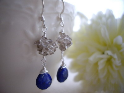 beads ball lapis lazuri earrings