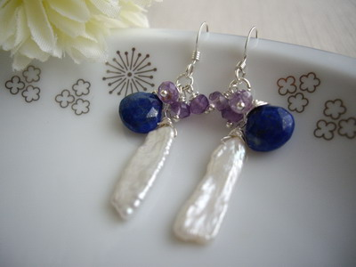 lapis lazuri and stick pear earrings