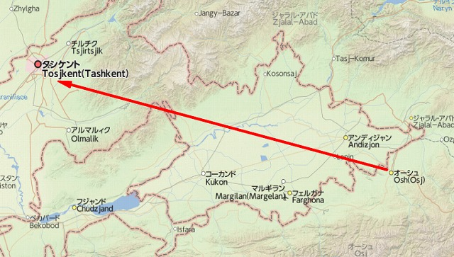 オシュ~国境~タシケント