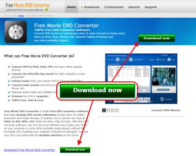 Free Movie DVD Converter ダウンロードページ