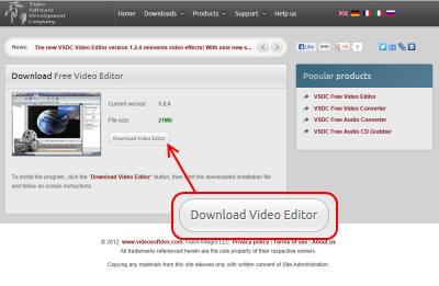 VSDC Free Video Editor ダウンロードページ